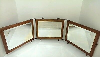 Antique Victorian Oak Tri Fold Footed Travel Mirror Vanity Mirror Ornate Backing