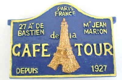 Cafe de la Tour Eiffel Paris Street Sign FRENCH Magnet  IMPORTED from FRANCE