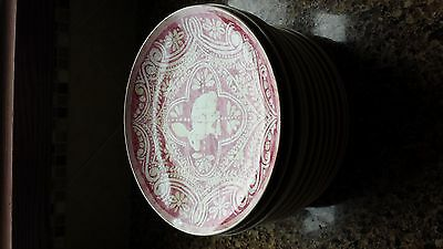 Pottery Barn Pink Easter Bunny Plates set of 4