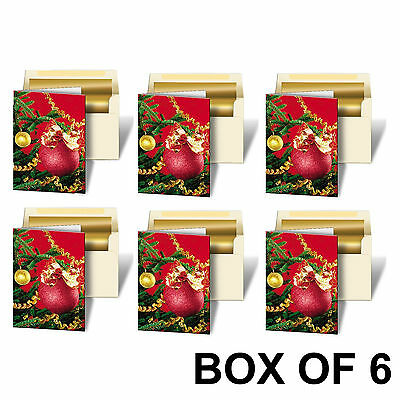 Holiday Christmas Red Ornament Greeting Card 3D Lenticular #GC-982-6#