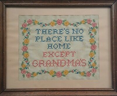 Vintage Cross Stitch On Linen Framed THERE'S NO PLACE LIKE HOME EXCEPT GRANDMA'S