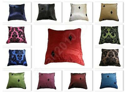 """Cushion Covers Flock DAMASK Cushions Cover OR Filled Cushion 18""""X 18"""" UK Seller"""