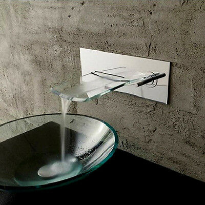 Waterfall Wall Mount Bathroom Vessel Sink Faucet with the Glass Spout Chrome