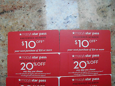 4 Macy's Coupons 2/20% off and 2/$10 off-$30.00 Purchase - Exp. April 17th