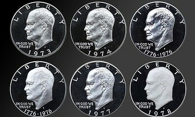 """NICE COLLECTION SET PROOF EISENHOWER """"IKE"""" DOLLARS 1973 1974 1976T1-T2 1977 1978"""