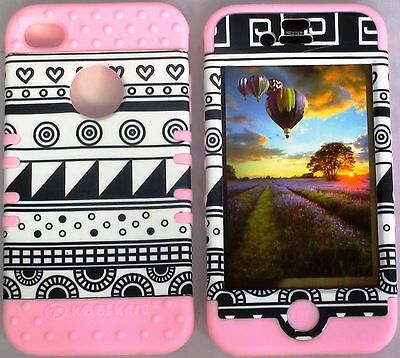 Black White Aztec Tribal L.PINK Hybrid Bumper Cover Case For Apple iPhone 4 4S