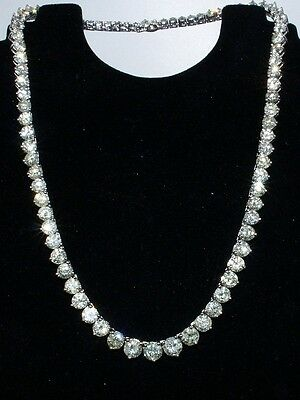 Diamond Tennis Necklace 14k White Gold 35.00 ctw Round Yellow and ... Lot 78058