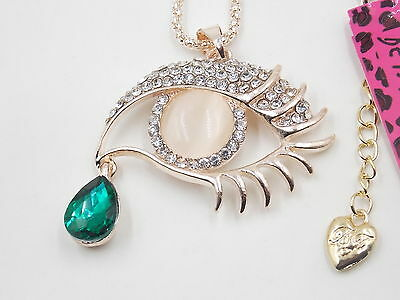 Free shipping! Betsey - Johnson blue crystal eyes tears pendant necklace# N120