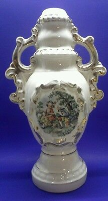 """Vintage Hand Painted Colonial Couple Ceramic 14"""" Table Lamp Base Only"""
