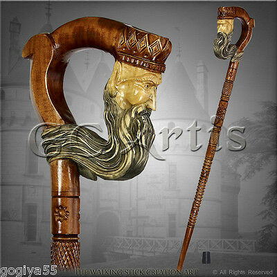 FOLK TOP ART NATURAL HANDLE CARVED CRAFTED WOODEN WALKING STICK CANE STAFF KING