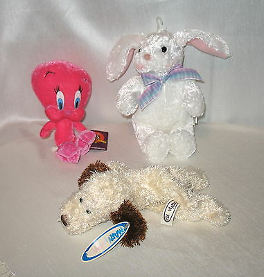 Lot of 3 Dolls - Tweety, Puppins, Easter Bunny