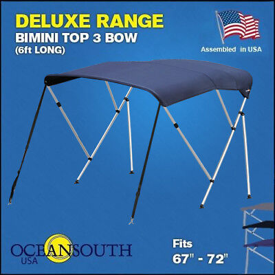 "BIMINI TOP 3 Bow Boat Cover Blue 67""-72"" Wide 6ft Long With Rear Poles"