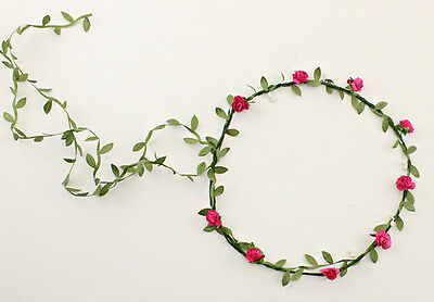 Spring Floral Flower Festival Forehead Hair Head Band Wedding Garland rosse red