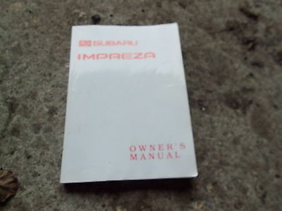 Subaru Impreza All Models 1992 - 2001 Owner's Manual / Hand Book
