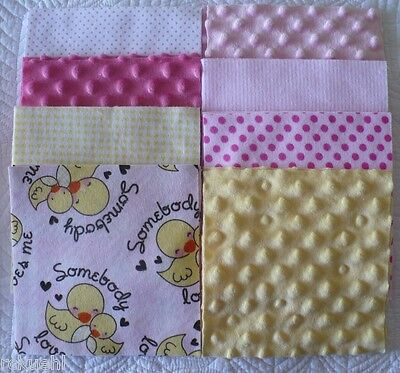 """36 ~ 6.5""""Somebody Loves Me Chicks Fannel & Minky Quilt Squares 36"""" x 36"""" Top"""
