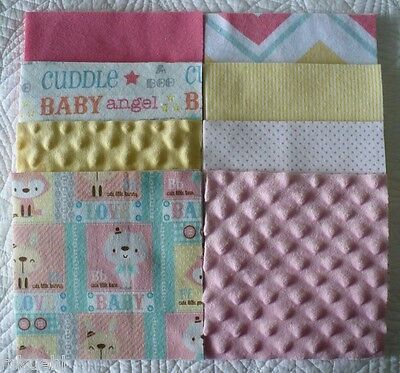 """42 ~ 6.5"""" Baby Cuddle Love Flannel & Minky Quilt Squares Makes a 36"""" x 42"""" Top"""