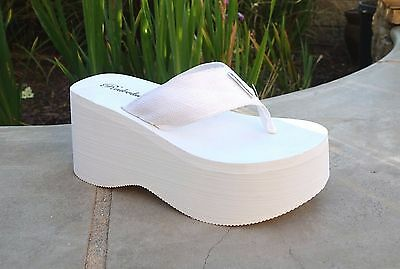 WHOLESALE LOT 24 Pairs High Wedge/Platform Thong Sandals-1088 white