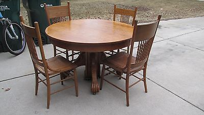Antique Vintage Claw Foot Oak Table Round Solid Wood 48 in. LOCAL PICKUP ONLY