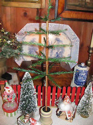 """NEW Primitive 21 1/2"""" Real Feather Christmas Tree,Wood Urn Base,Acorns & Berries"""