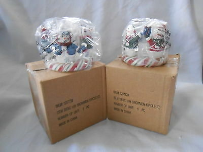 Yankee Candle votive Snowman Circle ot friends multi-color set of 2 new in box