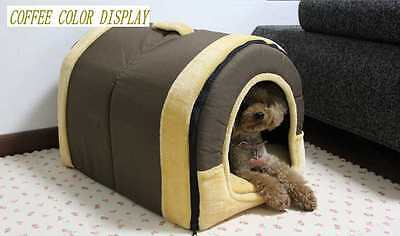 WARM Outdoor Pet Kennel Bed Cozy Dog Cat Puppy bed Durable House COFFEE SMALL