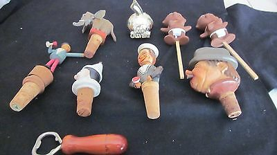 Lot of 9 Vintage Carved Wood Bottle Stoppers and such Folk Art