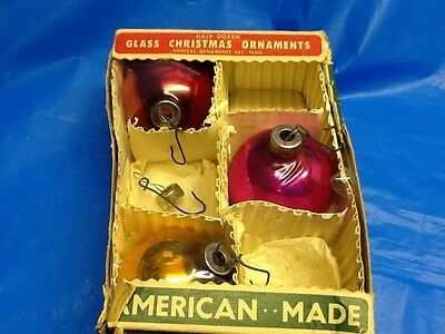 vintage PARAGON glass CHRISTMAS ORNAMENTS set of 3 assorted IN BOX
