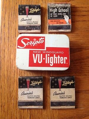 Vintage Scripto New Windguard Vu-Lighter Tin, 4 Vintage Advertising Matchbooks