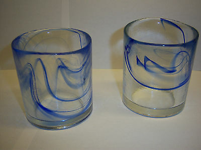 MURANO type glass VOTIVE candle holders SET of 2 HAND FINISHED blue/clear glass