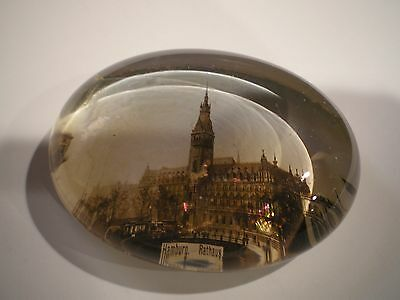 Antique Glass Oval Paperweight Hamburg Rathaus Germany