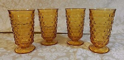 Colony Amber American Whitehall Cubist Indiana Glass Ice Tea Tumbler Set of 4