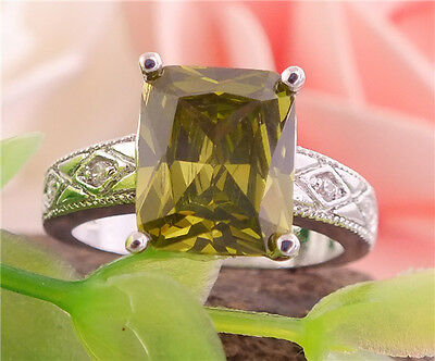 New 1pc 925 Sterling Silver green Brilliant Gemstones Lady's Ring Size 7