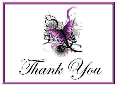25 Personalized WEDDING Favors Custom THANK YOU Note CARDS  BUTTERFLY Group #5