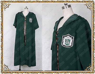 Harry Potter Quidditch  robes  SLYTHERIN Cloak Cosplay adult costume movie