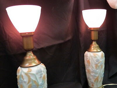 """vintage pair consolidated / phoenix lamps  high relief """"bittersweet"""" pattern 40s"""