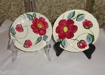 "Blue Ridge China Pair of 6"" Saucers, Hand Painted Red Flower, Yellow Center"