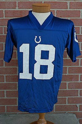 Indianapolis Colts #18 PEYTON MANNING BLUE REEBOK JERSEY. Sz L. (14-16) Youth