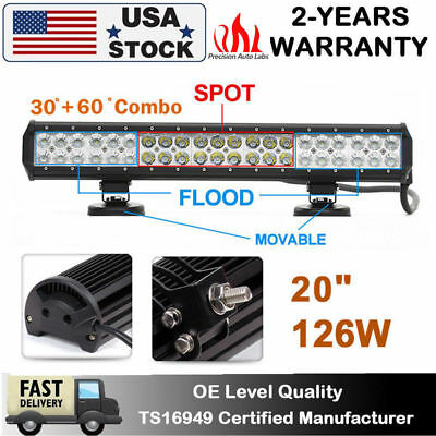 126W 20inch CREE Led Light Bar Flood Spot Work Offroad Driving Truck 120W 144W