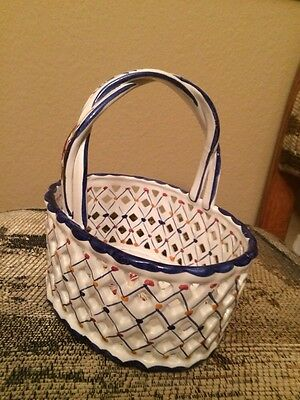 VTG PORTUGAL RCCL HAND PAINTED CERAMIC NUMBERED FLORAL BASKET BRAIDED HANDLE