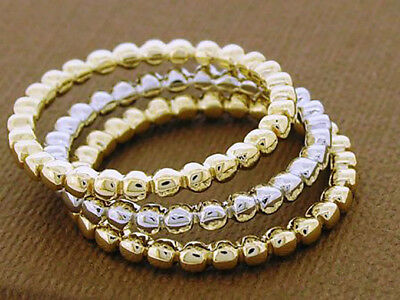 R255- Genuine White 9ct Gold Stackable Bubbles Ring Wedding Band size 6