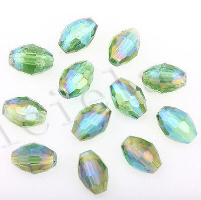 50Pcs Grass Green AB Czech Crystal Glass Spacer Loose Beads Charms Jewelry 8X6MM