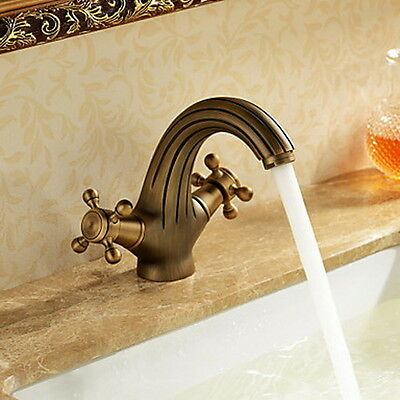 Luxury Antique Solid Brass Two Handles Bathroom Sink Faucet Bath Tub Mixer tap