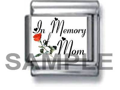 IN MEMORY OF MOM w RED ROSE 9MM ITALIAN PHOTO CHARM LINK mother love family