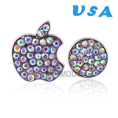 Crystals Bling Deco Home Button Logo Sticker For iPhone 5/5S 4/4S iPod Shine USA