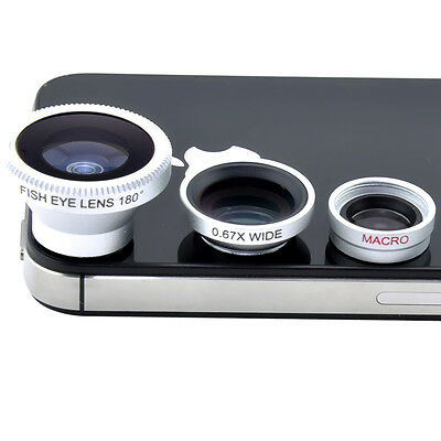 3in1 Fisheye Lens+ Wide Angle + Micro Lens photo Kit Set for iPhone 4 4S 5 I9100