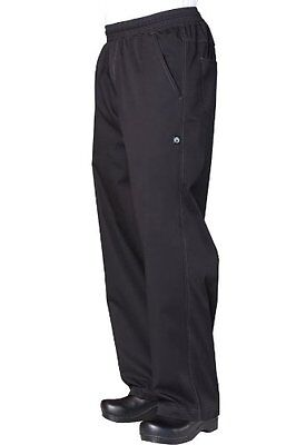 Chef Works BBLW Basic Men`s Baggy Lightweight Chef Pants, X-Large, Black , New,