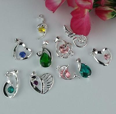 Wholesale 5pcs  925 Sterling silver Mixed Color Crystal Necklace Charm Pendant