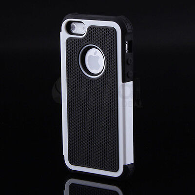 White Hybrid Rugged Rubber Matte Bumper Hard Case For  iPhone 4 4S