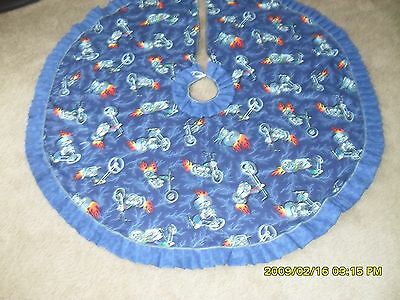 Motorcycle chopper  Christmas tree skirt. 47 Inches