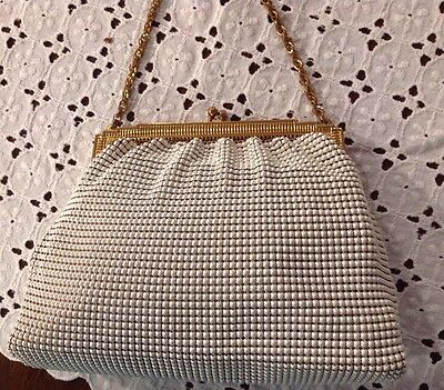 Antique Clutch Purse: White Beaded on Mesh, Whiting & Davis MADE IN USA